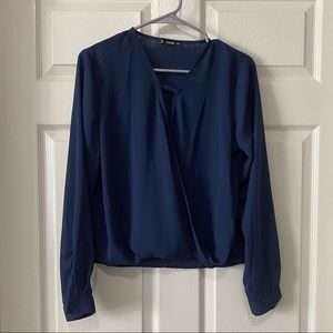 Shein navy blue wrap front blouse.
